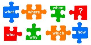 Rompecabezas de las preguntas Foto de archivo libre de regalías