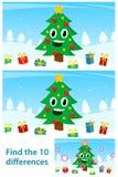 Rompecabezas de los niños con un árbol de navidad feliz ilustración del vector