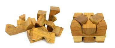 Rompecabezas de madera Imágenes de archivo libres de regalías