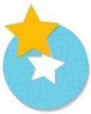 Rompecabezas de rompecabezas redondo del círculo de la estrella Imágenes de archivo libres de regalías