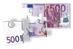 rompecabezas del billete de banco del euro 500 Fotos de archivo libres de regalías