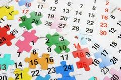 Rompecabezas del calendario y de rompecabezas Foto de archivo