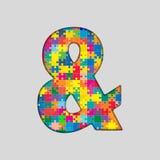 Rompecabezas del color - marca del signo '&' Gigsaw, pedazo Imagen de archivo
