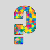 Rompecabezas del color - signo de interrogación Gigsaw, pedazo Imágenes de archivo libres de regalías
