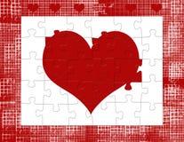 Rompecabezas del corazón de la tarjeta del día de San Valentín Fotografía de archivo