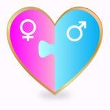 Rompecabezas del corazón del género Imagen de archivo libre de regalías
