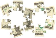 Rompecabezas del dinero del billete de banco del dólar Fotografía de archivo