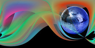 Rompecabezas del globo en fondo abstracto Imagen de archivo