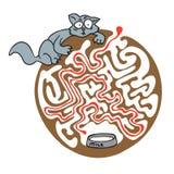 Rompecabezas del laberinto para los niños con el gato y la leche Ejemplo del laberinto, solución incluida Fotografía de archivo libre de regalías