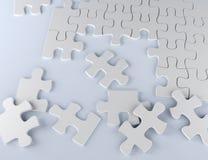 Rompecabezas en el ejemplo blanco del equipo 3D del negocio del fondo Imagen de archivo libre de regalías