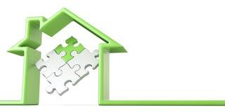 Rompecabezas en la casa hecha de la Línea Verde 3D stock de ilustración
