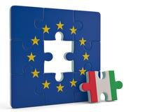 Rompecabezas euro y un pedazo del rompecabezas con la bandera de Italia ilustración 3D libre illustration