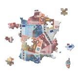 Rompecabezas franceses de la correspondencia de los euros Imagenes de archivo