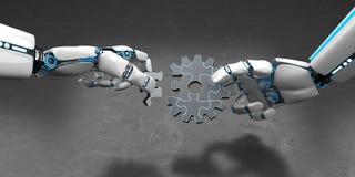 Rompecabezas Humanoid de la rueda de engranaje del robot ilustración del vector