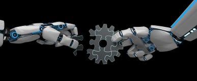 Rompecabezas Humanoid de la rueda de engranaje del robot stock de ilustración