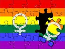 Rompecabezas lesbiano alegre Fotos de archivo libres de regalías