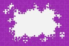 Rompecabezas púrpura del fondo Marco del rompecabezas stock de ilustración