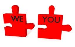 Rompecabezas rojo, nosotros y usted en un fondo blanco Fotografía de archivo