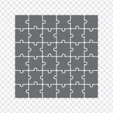 Rompecabezas simples del icono en gris Rompecabezas simple del icono de los treinta y seis elementos en fondo transparente Vector Imagenes de archivo