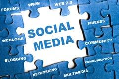 Rompecabezas social de los media Fotografía de archivo