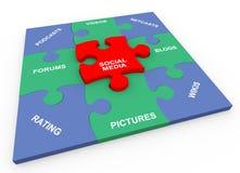 rompecabezas solucionado media sociales 3d Fotografía de archivo