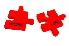 Rompecabezas, trabajo y vida rojos Imagen de archivo libre de regalías