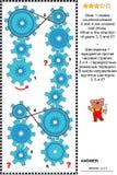 Rompecabezas visual con los engranajes y las impulsiones de correa giratorios