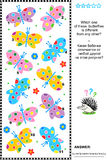 Rompecabezas visual de la lógica - encuentre una mariposa única Foto de archivo libre de regalías