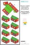 Rompecabezas visual de la matemáticas con las casas de papel modelo dobladas