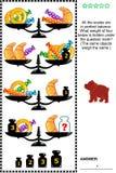 Rompecabezas visual de la matemáticas con las escalas, los pesos, la repostería y pastelería y los caramelos Imágenes de archivo libres de regalías