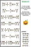 Rompecabezas visual de la matemáticas con los números romanos y los matchsticks Imagen de archivo libre de regalías