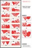 Rompecabezas visual del día de tarjeta del día de San Valentín - haga juego las mitades - corazones Fotografía de archivo libre de regalías