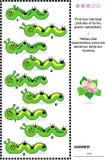 Rompecabezas visual - encuentre dos imágenes idénticas de orugas Imagen de archivo