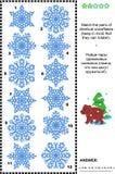 Rompecabezas visual - haga juego los pares de copos de nieve idénticos Fotos de archivo libres de regalías