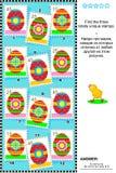 Rompecabezas visual temático de la lógica de Pascua con los sellos ilustración del vector