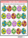 Rompecabezas visual temático de Pascua con filas de huevos pintados libre illustration
