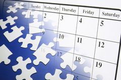 Rompecabezas y calendario de rompecabezas Imagen de archivo