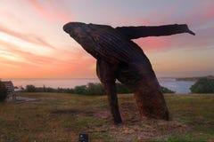 Rompendo o sculpure da baleia da madeira Fotografia de Stock Royalty Free