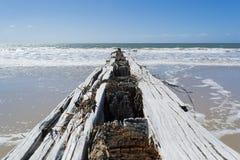 Rompeolas de madera, Victor Harbor, península de Fleurieu, sur de Australia Imágenes de archivo libres de regalías