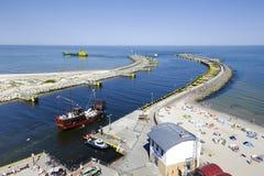 Rompeolas del este del puerto en Kolobrzeg Fotos de archivo libres de regalías