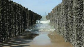 Rompeolas y agua de mar almacen de video