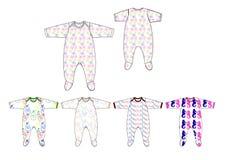 Иллюстрация на всем шаблона дизайна romper ребёнка ткани jersey печати Стоковые Изображения RF