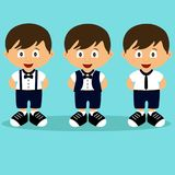 Romper suit. Children`s tuxedo. Collection. A boy in a suit. Romper suit. Children`s tuxedo. Collection. For boys. Vector illustration Stock Photography