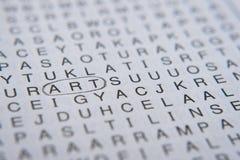 Rompicapo di puzzle di parola ` di arte del ` di parola nel cerchio fotografia stock libera da diritti