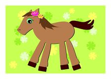 Romping Pony and Flower Background Royalty Free Stock Image