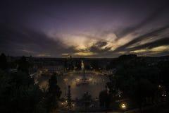Roms Piazza Del Popolo bei schönem Sonnenuntergang Lizenzfreie Stockfotografie