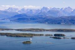 Romsdalsfjorden cerca de Molde en Noruega del sur Imagenes de archivo