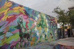Ron English Mural In Wynwood. Wynwood Walls is an outdoor art museum displaying a large scale colorful murals in midtown Miami, Florida Stock Image