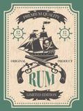 ron Etiqueta del vintage en el tema del pirata stock de ilustración