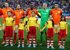 Ron Vlaar ,  Daley Blind , Bruno Martins Indi , Jasper Cillessen and  Robin van Persie  Coupe du Monde 2014 Royalty Free Stock Photography